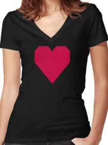 Chinese Carmine  Women's Fitted V-Neck T-Shirt