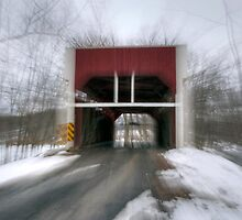 Zooming Through The Keefer Mill Covered Bridge by Gene Walls