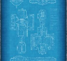 Top Secret Spaceship Blueprint by algoldesigns