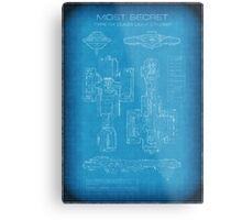 Top Secret Spaceship Blueprint Metal Print