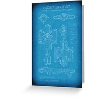 Top Secret Spaceship Blueprint Greeting Card