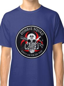 Biohazard Zombie Squad Always aim for the head F U Ring Patch outlined Classic T-Shirt