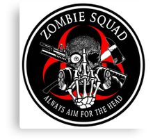 Biohazard Zombie Squad Always aim for the head F U Ring Patch outlined 2 Canvas Print