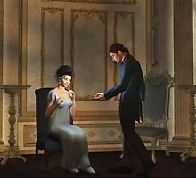 Regency Era Couple in Candlelit Ballroom by algoldesigns