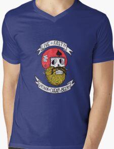 LIVE FAST DRINK CHEAP BEER Mens V-Neck T-Shirt