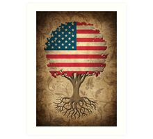 Tree of Life with American Flag Art Print