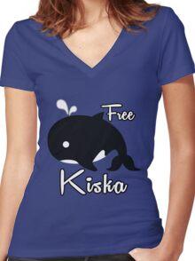 Support - Free Kiska Women's Fitted V-Neck T-Shirt