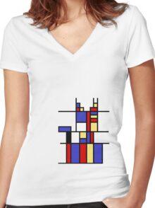 Mondrian's cat Women's Fitted V-Neck T-Shirt