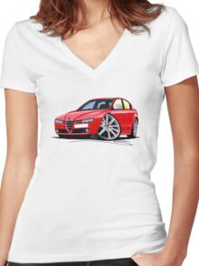 Alfa Romeo 159 Red Women's Fitted V-Neck T-Shirt