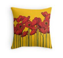 Poppies Yellow Throw Pillow
