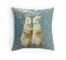 Aqua Victorian Easter Rabbit Bunnies Throw Pillow