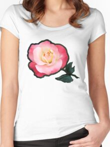 A Blushing Rose ~ Two Tone Beauty Women's Fitted Scoop T-Shirt