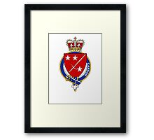 Coat of arms (family crest) for last-name or surname Cannon (Scotland) . Heraldry banner for your name. Framed Print