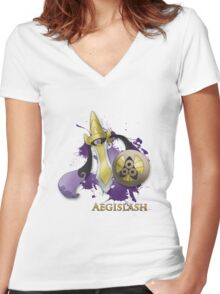 Aegislash Blade Forme With Name Women's Fitted V-Neck T-Shirt