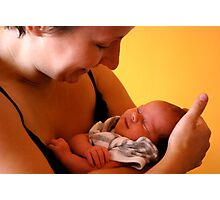 Newborn in safe arms Photographic Print