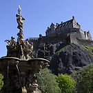 Edinburgh Castle and Ross Fountain by Linda More