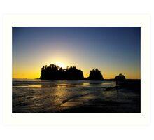 sun setting behind james island, washington, usa Art Print