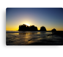 sun setting behind james island, washington, usa Canvas Print