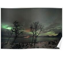 Aurora Borealis and clouds Poster