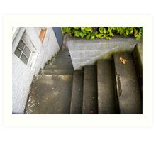 down the outside staircase Art Print