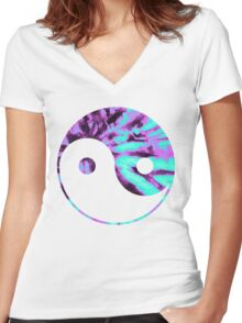 Tie Dye Yin Yang Women's Fitted V-Neck T-Shirt