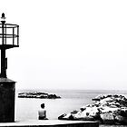 enjoying the solitude (Black and white Lighthouse) by Francesco Malpensi