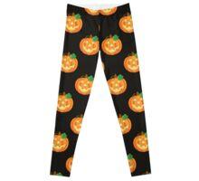 Halloween Pumpkins on Black Background Leggings