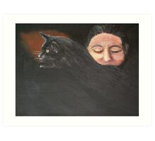 Woman With Cat Art Print