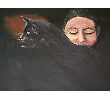 Woman With Cat Photographic Print