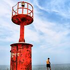 Red Lighthouse and Fisherman by Francesco Malpensi
