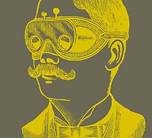 Vintage man in goggles by monsterplanet