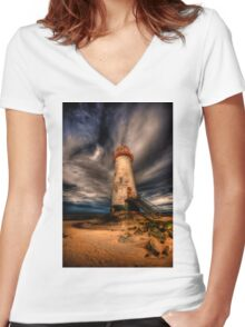 Abandoned Lighthouse Women's Fitted V-Neck T-Shirt