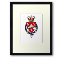 Coat of arms (family crest) for last-name or surname Childs or Child (England) . Heraldry banner for your name. Framed Print
