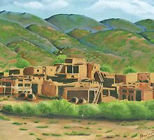 Taos Pueblo New Mexico Greeting Card by Barbara Applegate