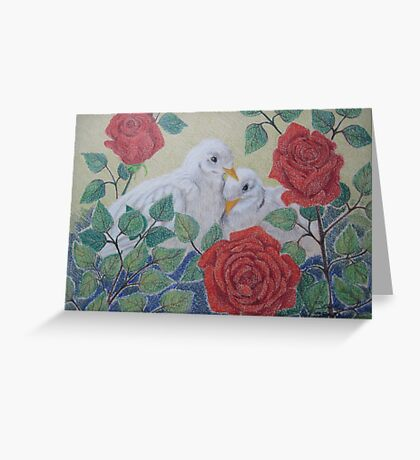 Doves and Roses Greeting Card