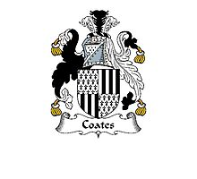 Coat of arms (family crest) for last-name or surname Coates . Heraldry banner for your name. Photographic Print