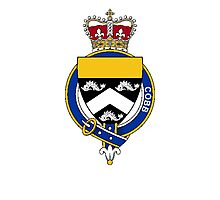 Coat of arms (family crest) for last-name or surname Cobb (England) . Heraldry banner for your name. Photographic Print