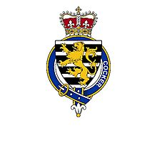 Coat of arms (family crest) for last-name or surname Cocker (England) . Heraldry banner for your name. Photographic Print