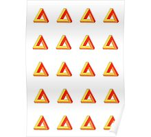 Penrose Triangle Repeated (Red) Poster