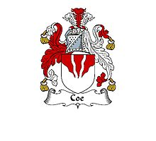 Coat of arms (family crest) for last-name or surname Coe . Heraldry banner for your name. Photographic Print