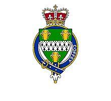 Coat of arms (family crest) for last-name or surname Coffey (Ireland) . Heraldry banner for your name. Photographic Print