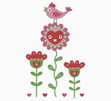 Happy - flowers bird hearts by Andi Bird