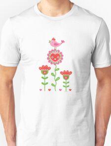 Happy - flowers bird hearts Unisex T-Shirt