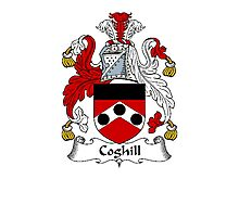 Coat of arms (family crest) for last-name or surname Coghill . Heraldry banner for your name. Photographic Print