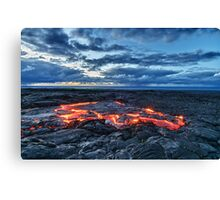 lava flowing towards the sea at sunrise HDR Canvas Print