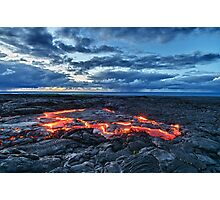 lava flowing towards the sea at sunrise HDR Photographic Print