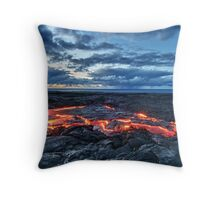 lava flowing towards the sea at sunrise HDR Throw Pillow