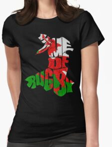 Wales Home of Rugby Calligram Map Womens Fitted T-Shirt