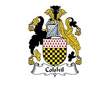 Coat of arms (family crest) for last-name or surname Colshil . Heraldry banner for your name. Photographic Print