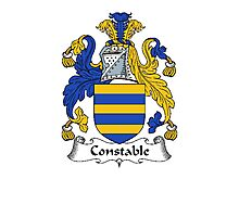 Coat of arms (family crest) for last-name or surname Constable . Heraldry banner for your name. Photographic Print
